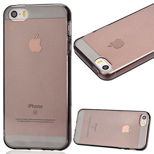Dexnor Cover per iPhone 5 Custodia iPhone 5S Caso iPhone SE Case, Durevole Ultra Slim Silicone Back Cover TPU Gel Premium Cristallo Trasparente Sottile Morbido Protettiva Flessibile Bumper per Apple i Trasparente Crystal Nero