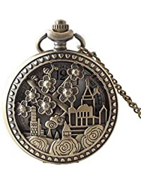Maybesky Reloj de Bolsillo de Cuarzo del tirón del Vintage de la Flor Tallada Flor Creativa con la Cadena Caja de Regalo para cumpleaños Aniversario día Nav