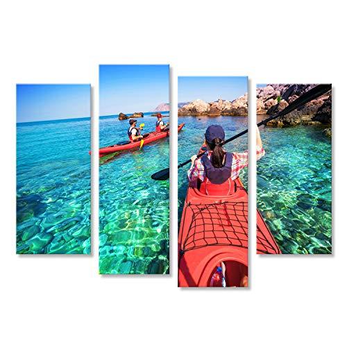 islandburner Bild Bilder auf Leinwand Kajak Fahren. Die Frau, die auf Den Seekajak schwimmt. Freizeitaktivitäten am Meer. Kanusport. Wandbild, Poster, Leinwandbild IDX-4erP