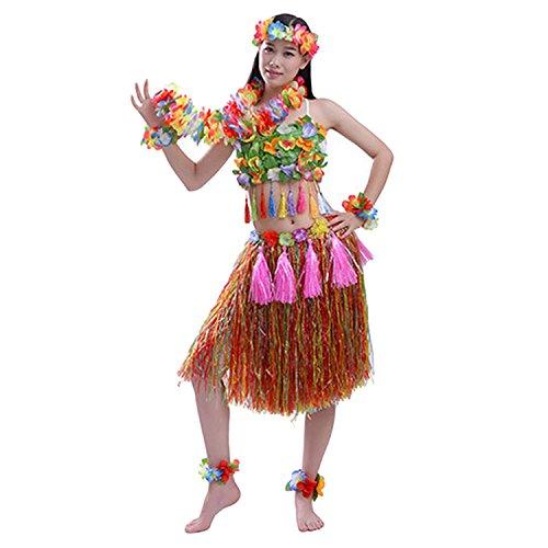 Hawaiianer Kostüm - 7 Stk Hawaiianer Luau Partydekorationen Kostüme Set 40cm Hula Rock + Headwear Stirnband + Lei Garland + 2 Stück Armbänder + 2 Stück Fußringe