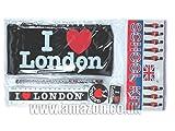 Kits Scolaires - J'aime (coeur) de Londres imprimé Pencil Case Noir avec Crayon, ru ......