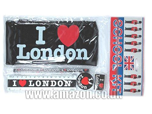 Scuola Kit - I Love (Heart) Londra stampata astuccio nero con la matita, righello, ecc