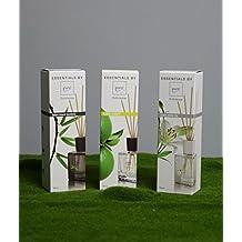 Profumatore per ambienti da 100ml con bocceta in vetro di forma quadrata trasparente disponibile in differenti fragrazne naturali, con diffusore in bastoncini di rattan - Prodotto Italiano(lime light)