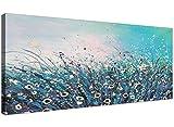 Wallfillers 1260 - Quadro moderno su tela, motivo: fiori astratti, larghezza: 120 cm, colore: azzurro e crema
