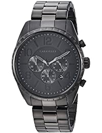 Caravelle Men's Quartz Stainless Steel Watch, Color Black (Model: 45B150)