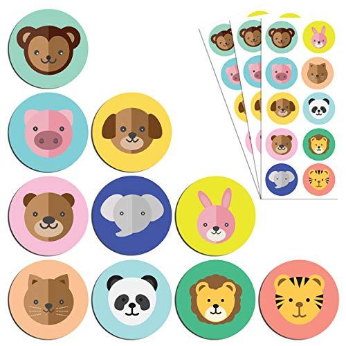 Aufkleber Sticker Set, (Hund, Katze, Löwe, Elefant) - 10 Designs, 20 Blätter, 200 Stücke ()