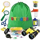 UTTORA Draussen Forscherset, 19 Stück Kids Adventurer Explorer Set mit Tragetasche - Fernglas Bug Catcher Pinzette Insect Viewer Kompass Lupe & Schmetterlingsnetz für Camping