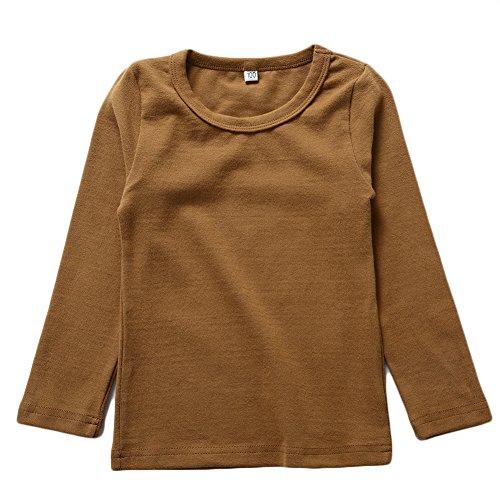 BINIDUCKLING Kids Basic Top Mädchen Jungen Langarm-T-Shirt, Kaffee, 4T -