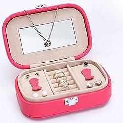 La Vie Joyero de Piel Elegante Mini Caja de Almacenamiento Portátil para la Joyería con Espejo Joyería Organizador Multiuso de Viaje para Mujer Niña 15x10x5cm Rojo