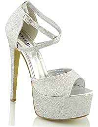 Minitoo - Scarpe da matrimonio Fashion donna , argento (Silver-9cm Heel), 38