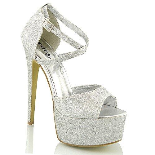 ESSEX GLAM Sandalo Donna Peep Toe con Lacci Plateau Tacco a Spillo Alto (UK 5 / EU 38 / US 7, Argento Glitter)