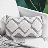 blue page Modern Tufted Boho Pillow Covers, gray Sofa Decorative Pillowcase with Fringe Tassels, Pillow Sham Cushion Cover for Lumbar, 12 x 18 Inches