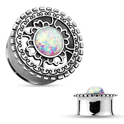 14 millimetri Opal Glitter centrato argento antico placcato Shield doppio tribale svasato Dilatatore Qualità più fine Orecchini Saddle Plug