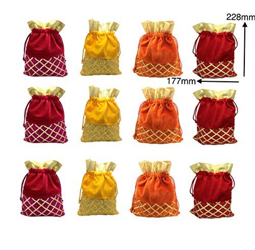 FashBlush Multicolor Shagun Gift Party Pouch Potlis (Set Of 12) 228x177mm