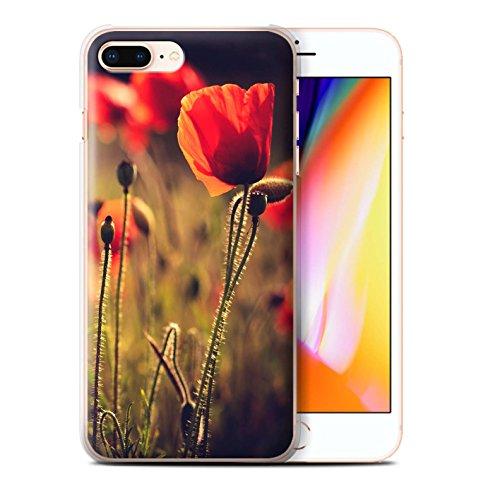 Stuff4 Hülle / Case für Apple iPhone 8 Plus / Grünes Blatt Muster / Britisch Landschaft Kollektion Rote Blume