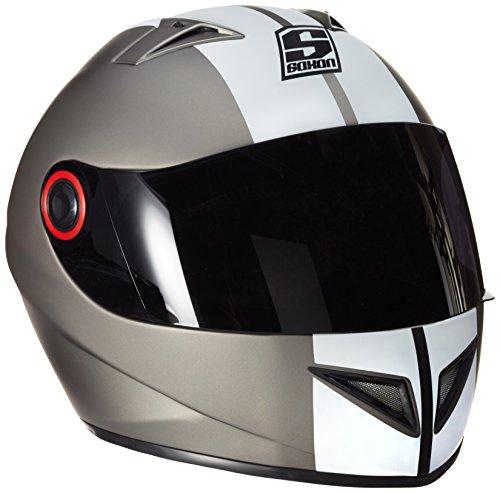 SOXON ST-666 Deluxe Titan · Sturz-Helm Scooter-Helm Cruiser Urban Helmet Integral-Helm Motorrad-Helm Sport Roller-Helm · ECE zertifiziert · inkl. Sonnenvisier · inkl. Stofftragetasche · Grau · M (57-58cm)