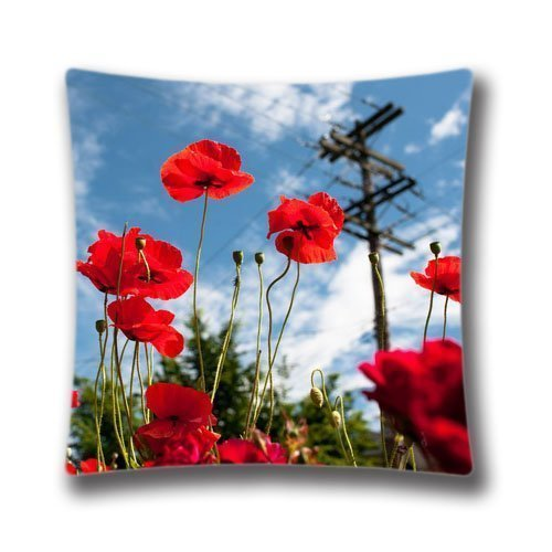 Vancouver Square (18x18 inches Vancouver Poppies Decorative Pillow Case Soft Fabric Square Cushion Cover (Twin sides) AnasaC25196)
