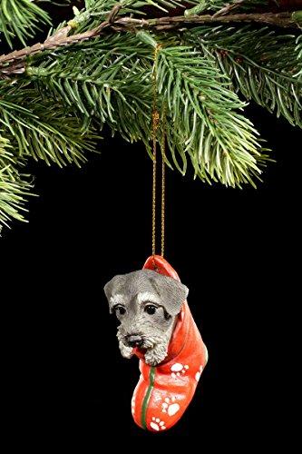 Christbaum-Schmuck Hunde Figur | Schnauzer Welpe im Strumpf | Anhänger Weihnachten Baum Deko Kugel (Hund Weihnachten Strumpf)