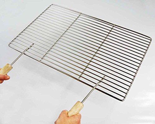 Edelstahl Grillrost 42 x 42 cm nur 10 mm Stababstand, Stäbe Ø 4mm + 2 Griffe