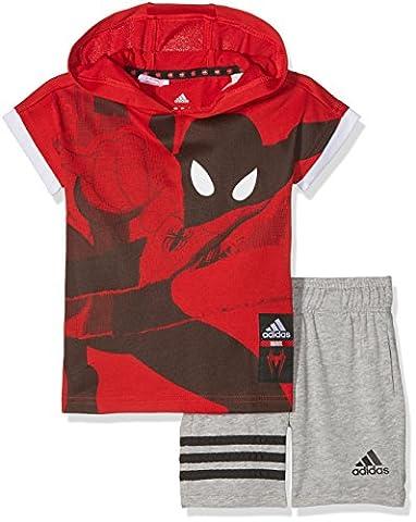 adidas Kinder LB DY SM SU Set Trainingsanzug, Rot-(Escarl/Blanco), 122