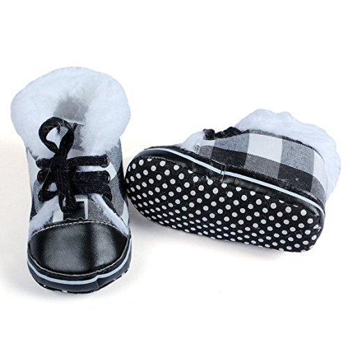 Baby Bucket Newborn Infant Baby Cute Lace Snow Boots Crib Shoes (0-5 Months, Black)
