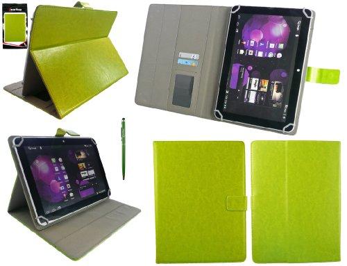 Emartbuy® Grün Doppelfunktion Stylus + Universalbereich Grün Multi Winkel Folio Executive Wallet Case Cover Tasche Hülle Schutzhülle Mit Kartensteckplätze Geeignet Für Odys Iron 9.7 Inch Tablet