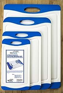 Ensemble de 4 planches à découper Misc Home, épaisses, en polypropylène sans BPA, avec rigole et poignées en caoutchouc antidérapant, taille S, M, L et XL