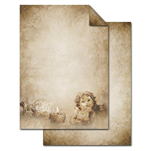 Beige Bedruckt (ANBGEBOT: 25 Blatt Weihnachtsbriefpapier Briefpapier Weihnachten weihnachtlich ENGEL alt beige braun antik beidseitig bedruckt 100g DIN A4 als Schreib-Drucker-Motiv-Kopier-Papier für Weihnachtsbriefe)