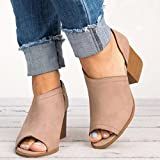Womens Heeled Sandals OverDose Peep Toe Block Heeled Sandal with Zipper (39 EU)