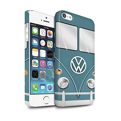 STUFF4 Matte Snap-On Hülle / Case für Apple iPhone 5/5S / Perlweiss Muster / Retro T1 Wohnmobil Bus Kollektion Blau Taube