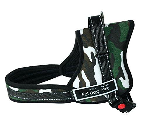Lantra Besa Schiebeknopf Hundegeschirr Harness Weste für Mittlere / Große / Extra Große Hunde in Allen Jahreszeiten - Gepolstert Verstellbar und Reflektierend Typ 2 - Camouflage, XL (Extra-großes Hundegeschirr)