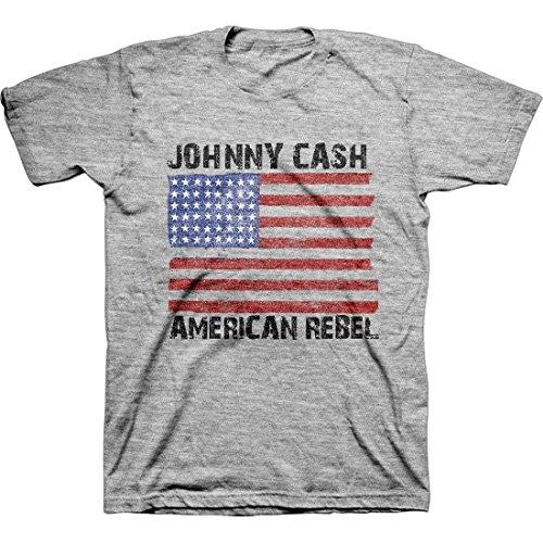 Johnny Cash - Herren-amerikanischen Rebel Flag T-Shirt, Large, Heather Grey (T-shirt Flag Rebel)