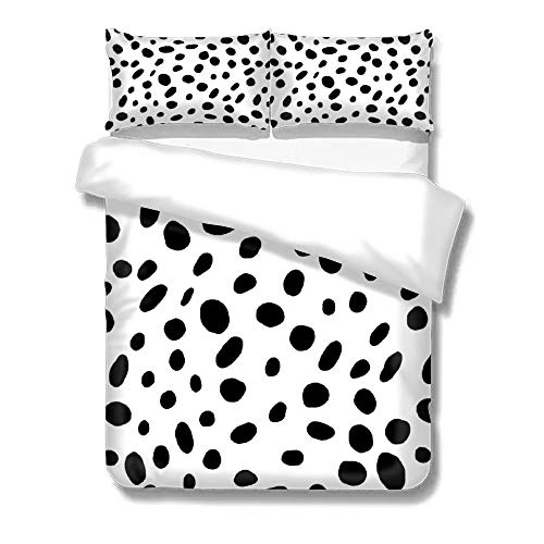 Duvet Cover Set Cotton Quilt Bedding Set Set of Three On The Bed Black Spots -
