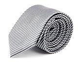 MASSI MORINO Herren Slim-Fit Krawatte, handgenäht aus Mikrofaser in verschiedenen Farben - schmale Mikrofaser-Krawatte, Skinny & Silk Ties (6cm) (Grau feingestreift)
