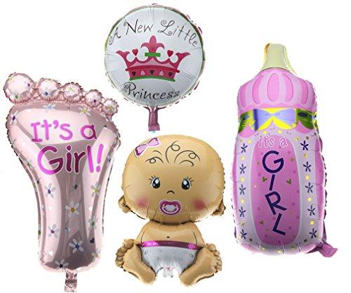 Preisvergleich Produktbild 4er Folienballon Boy / Girl Set Baby Party Geburt Fuß Flasche Luftballons