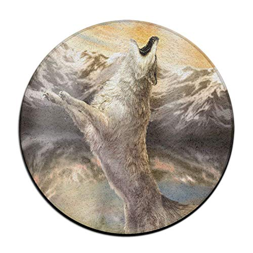 yiyuanyuantu Non-Slip Round Rug Wolf Snow Mountians Entrance Doormat Floor Pet Kids Mat Shoes Scraper Diameter 23.6 inch Mountian Horse