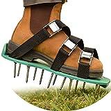 Chaussure à pointes aérateur de gazon, sandales renforcées avec 4sangles réglables et boucles en métal pour une aération efficace de l'herbe du jardin, taille universelle - Excellent jardinage sans gadget green
