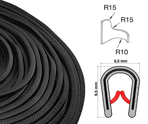KS1-2S Kantenschutzprofil von SMI-Kantenschutzprofi - PVC Gummi Klemmprofil - Stahleinlage - Kantenschutz - Schwarz - einfache Montage, selbstklemmend ohne Kleber Klemmbereich 1-2 mm (10 m, schwarz) -