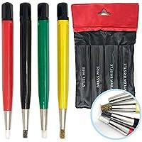 Pixiss - Juego de 3 pinceles de fibra de vidrio, acero y cerdas de latón de 12,7 cm para lijar, para eliminar la corrosión y el óxido, joyas, circuitos eléctricos y trabajos de carrocería