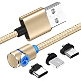 3.3ft/1m Magnetic Charging Cable Nylon Braid L Side 360 3 in 1 Magnetic Micro USB Cable Cord kompatibel mit iPhone Android, Nexus, LG, Sony, Huawei, Kindle,Gold