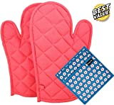 #1: Dm Cool Cotton Oven Glove & Pot Holder Set (2 Oven Glove + 1 Pot Holder Free) (Heat Proof) (33 X 16 Cm),(Assorted Colors And Designs) (100% Quality & Lowest Price)