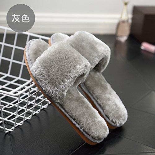 DogHaccd pantofole,Il cotone pantofole donna autunno e inverno caldo elegante asolati e rugiada e felpato interno antiscivolo pantofole di peluche ragazze. Grigio3