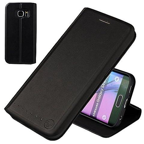 Nouskeb Lederklapphülle Tasche für Samsung Galaxy S6 Edge Hülle handgefertigt geschwungene Kanten mit Aufsteller und Kartenfach TPU Schutzhülle Cover Onyx