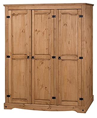 Mercers Furniture Corona 3 Door Flat Top Wardrobe produced by Mercer's Furniture - quick delivery from UK.