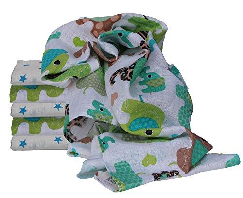 Clevere Kids Mulltücher Little Stars 6 Stück Spucktücher Mullwindeln (Elefanten grün türkis-star)