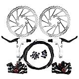 Yorbay Kit Freno a Disco Anteriore/Posteriore Biciclette Impostare MTB di Frenatura a Disco 160MM Rotori Bici da Strada (Nero)