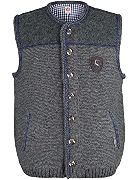 Herren Spieth & Wensky Trachten Strickweste grau-blau 'Finn', grau-blau,
