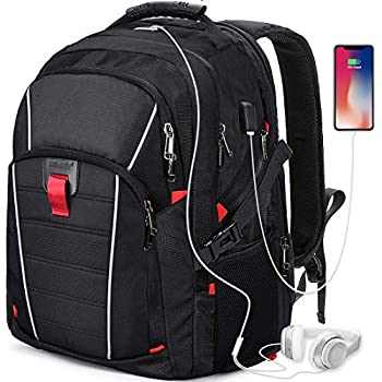 1d9e20231c Zaino Porta PC 17.3 Pollici Laptop Impermeabile USB Zaini Notebook Scuola  Viaggio Backpack Borsa Uomo Donna Nero