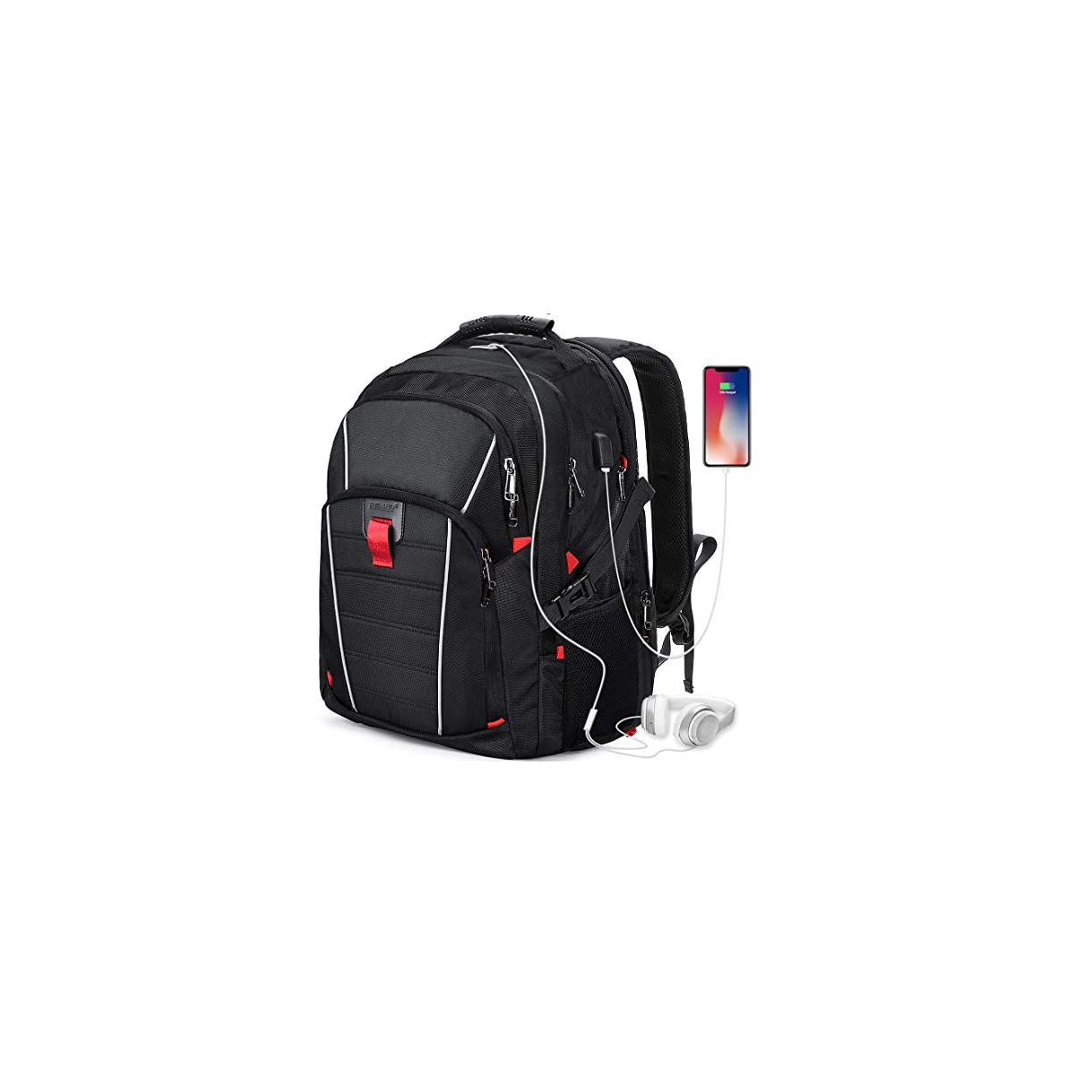 51LZWN2jdLL. SS1200  - Mochila Portátil Hombre 17.3 Pulgadas Puerto USB Impermeable Trabajo Ordenador Viaje Negocio Multifuncional Daypacks Negro