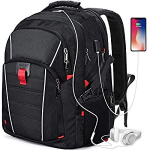 51LZWN2jdLL. SS300  - Mochila Portátil Hombre 17.3 Pulgadas Puerto USB Impermeable Trabajo Ordenador Viaje Negocio Multifuncional Daypacks Negro